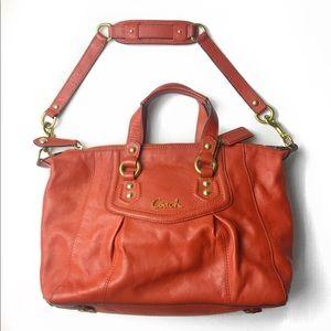 Coach leather Ashley vermillion shoulder handbag